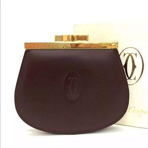 Must De Cartier Bordeaux Leather Coin Purse*MINT**